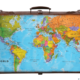 World map on suitcase