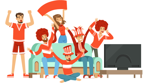 Group watching TV illustration
