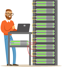 Illustration of man in data centre