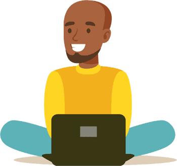 Man watching Netflix on a laptop illustration
