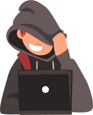 Laptop user protecting their identity with hood