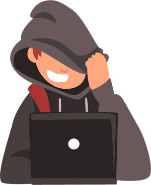 Teenager downloading torrents at a laptop illustration
