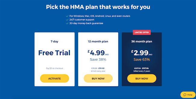 Pricing from HMA website