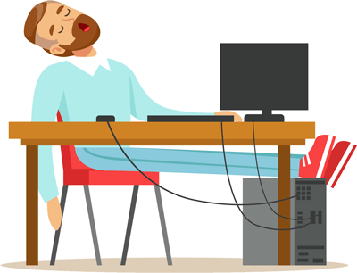 Man asleep at computer illustration