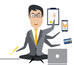Man using multiple devices illustration