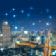 City scene with a blockchain illustration