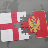 Flags of England and Montenegro in a puzzle design