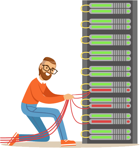 Engineer looking at server illustration