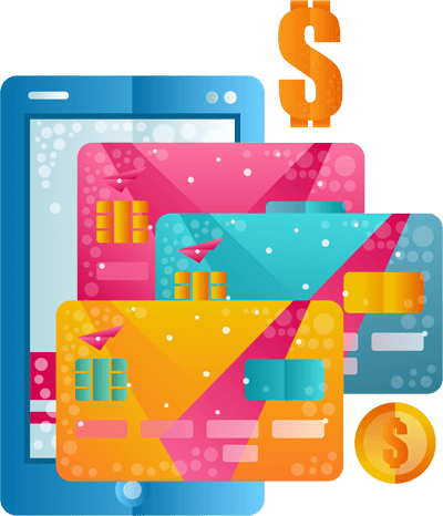 Tablet with credit card illustration