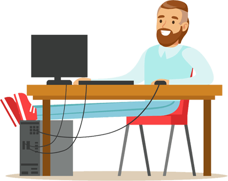 Man with feet up at computer illustration