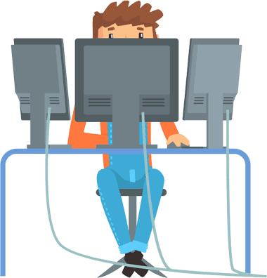 Man with multiple monitors illustration