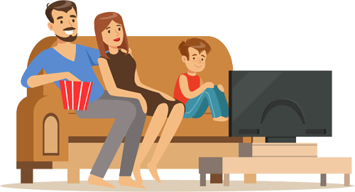 Couple watching TV illustration