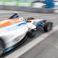 A Formula E car on the race track