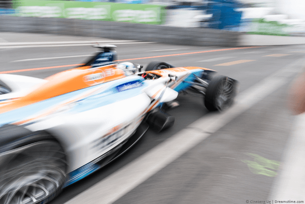 A Formula E car on the race track