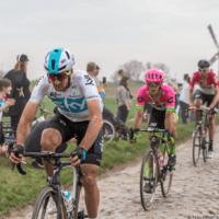 Cyclists in Paris-Roubaix