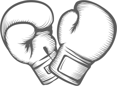 Outline drawing of boxing gloves
