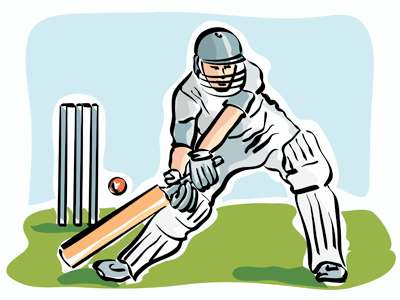 Drawning of a cricket player