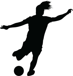 Silhouette of female football player