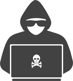 Silhouette of hooded hacker with laptop