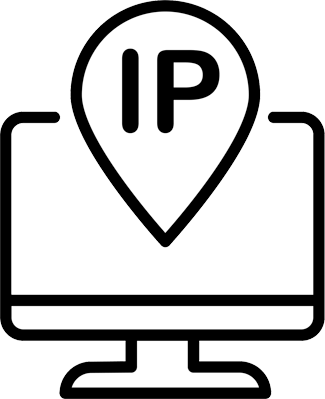 Line drawing of a computer with IP text and location icon