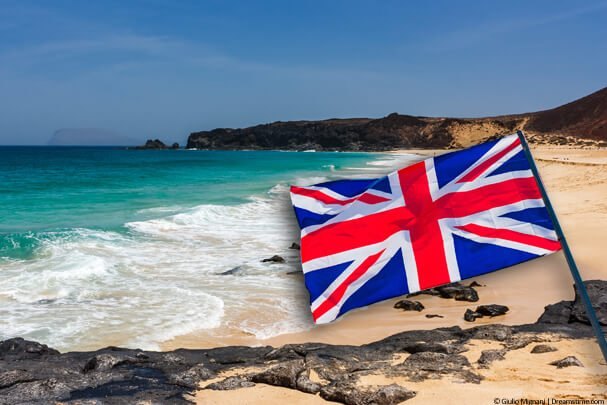 Lanzarote beach with a UK flag
