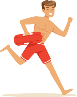 Drawing of a lifeguard running
