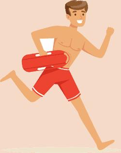 Drawing of a lifeguard running