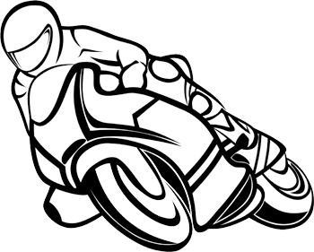Line drawing of motorbike rider leaning