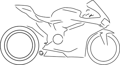 Line drawing of a Manx TT motorbike