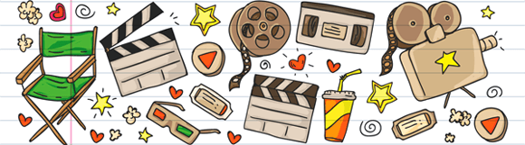 Banner of movie related items