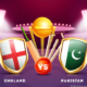 England vs Pakistan flags with cricket bats