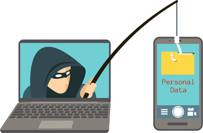 Hacker with a fishing rod stealing data