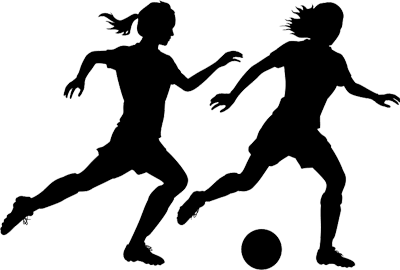Silhouette of two women footballers