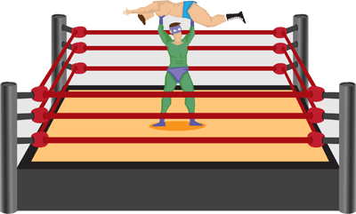 Two cartoon wrestlers fighting in ring