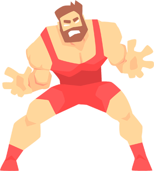 Cartoon style wrestler in red outfit