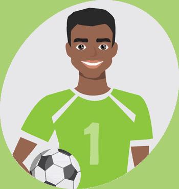 Cartoon drawing of African footballer