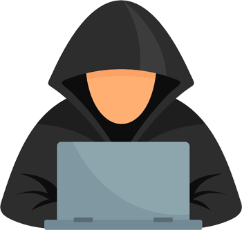 Block colour drawing of man with hoodie and laptop looking anonymous