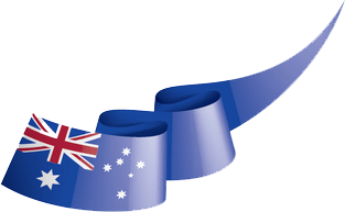 Curly ribbon with Australia flag