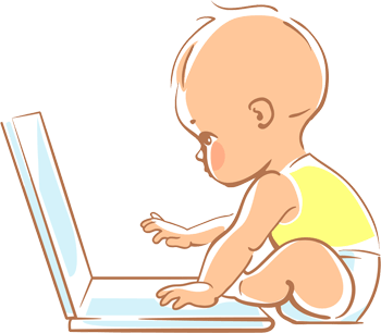 Baby using a computer drawing