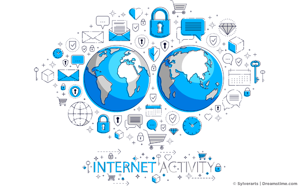 Two globes with internet activity icons around