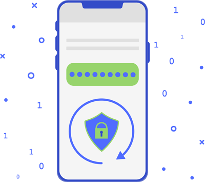 Mobile phone with protected data icons