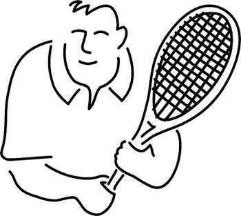 Outline drawing of a tennis player