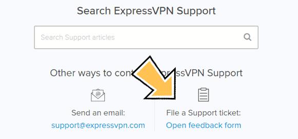 ExpressVPN's support ticket option