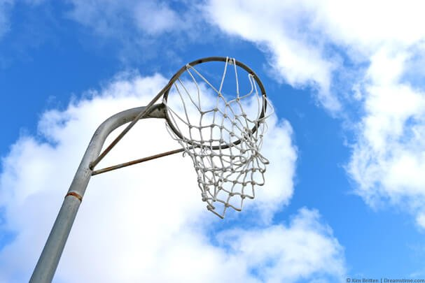 Netball ring facing the sky