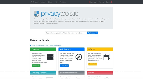 Screenshot of Privacy Tools website