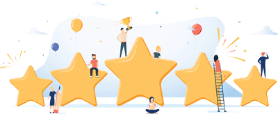 5 large review stars