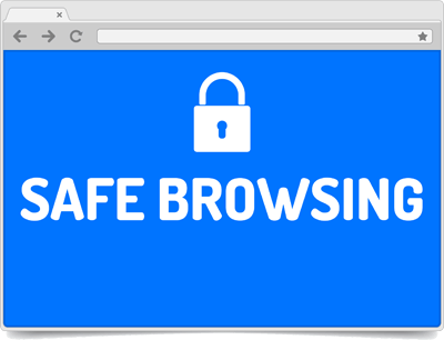 Mock web browser with words Safe Browsing