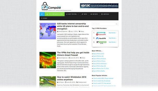 VPNCompare website screenshot
