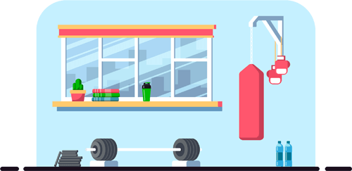 Cartoon drawing of gym with weights