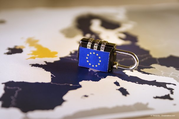 Padlock over EU map